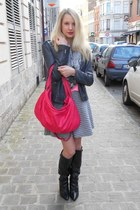 hot pink NAT&NIN bag - black Sacha boots - black H&M scarf