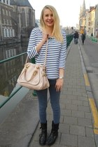 light pink Chloe bag - blue etam t-shirt