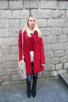 ruby red Stradivarius coat - black Stradivarius boots