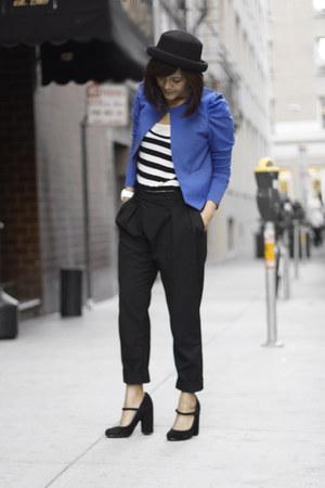 H&M blazer - bowler hat Topshop hat - Zara pants - Topshop heels