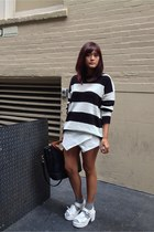 black Forever 21 sweater - white Zara skirt - white Artfit Girl sandals