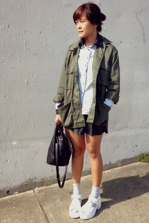 olive green Haight Street jacket - white platform clogs Artfit Girl shoes