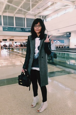 black houndstooth Zara coat - ivory Urban Outfitters shoes - black OASAP sweater