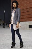 boots - hat - blazer - blouse