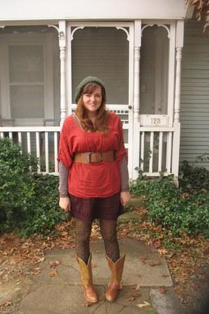 burnt orange Anthropologie blouse - light purple Anthropologie - skirt - belt -