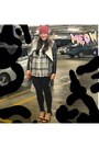 Black-topshop-jeans-ruby-red-topshop-hat-gray-unknown-blazer