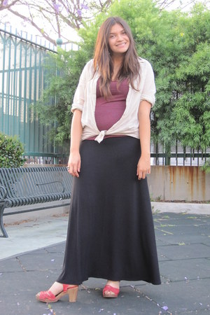 wood sole Aldo clogs - H&M shirt - Express skirt - American Apparel blouse