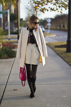white elle coat - light brown Old Navy sweater - hot pink kate spade bag