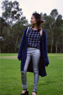 Navy-asos-cardigan-silver-sportsgirl-pants-black-chase-top