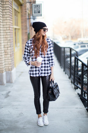 plaid shirt Jean Girl Style shirt - sequin leggings Lucy & Lyla leggings