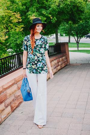 tropical tee Poppy & Dot top - blue handbag GiGi New York bag