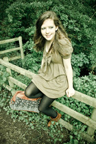 brown boots - brown dress - black leggings