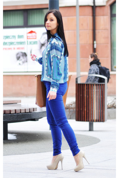 blue Zara blouse - bronze Zara bag - silver Mango necklace - blue Zara pants