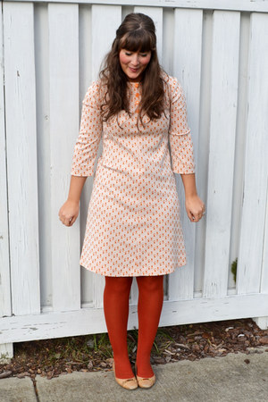 orange thrifted vintage dress - brick red 5 Target tights