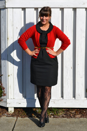 black 10 Target dress - black farylrobin shoes - red thrifted cardigan