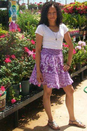 purple Hand Me Down from a friend skirt - silver shoes - silver necklace