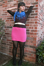 Black-vintage-blouse-pink-vintage-dress-white-vintage-belt-blue-vintage-sc