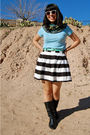 Blue-gap-shirt-black-forever-21-skirt-black-vintage-boots-purple-forever21