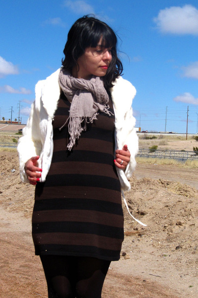 white vintage coat - brown H&M dress - black DKNY tights - black Frye boots - be