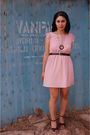 Pink-modcloth-dress-black-vintage-belt-black-vintage-necklace-black-modclo