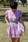 Pink-vintage-dress-blue-vintage-belt-purple-liz-claiborne-purse-gold-vinta