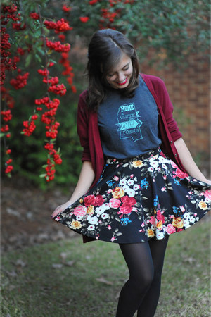 maroon Target sweater - black floral Forever 21 skirt