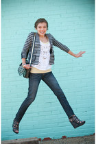 Charlotte Russe jeans - ann taylor jacket - Betsey Johnson purse - wedges - bead