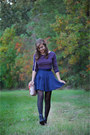 Black-thrifted-boots-deep-purple-crop-forever-21-sweater