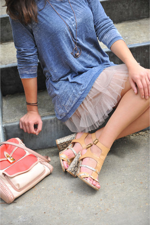 blue shirt - neutral slip Mystree dress - coral Jessica Simpson bag