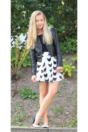 cream skater skirt h&m divided skirt - black leather jacket h&m divided jacket