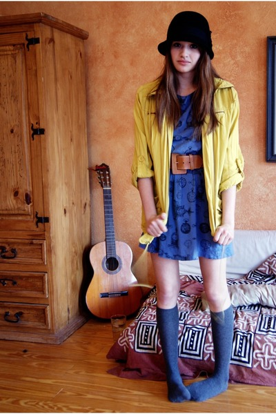 yellow anorak Forever21 jacket - blue clock dress homemade dress