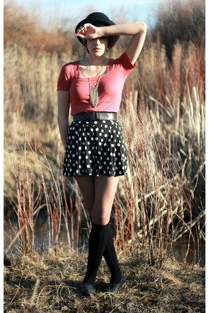black bowler hat hat - black polkadot shorts shorts - black knee highs socks