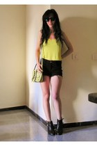 lime green Topshop bag - black Bershka shorts - lime green Topshop top