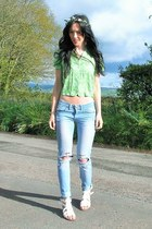 chartreuse cropped vintage shirt - sky blue ripped Primark jeans
