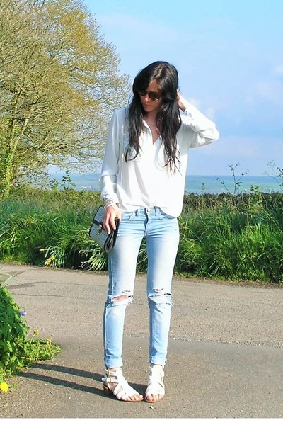 white Primark blouse - sky blue Primark jeans - white new look sandals