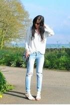 white Primark blouse - sky blue Primark jeans - white new look sandals