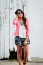 Salmon-zara-jacket-black-aztec-print-la-hearts-shorts-white-zara-top