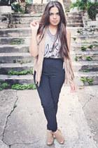 camel fringed vest - black H&M pants - heather gray top