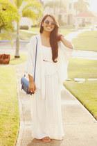 off white maxi Zara dress - off white beaded kimono Zara vest