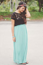 Black-lace-zara-top-aquamarine-long-forever-21-skirt
