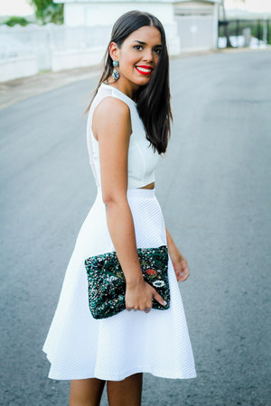 teal sequined Zara bag - white midi Zara skirt - white cropped Zara top
