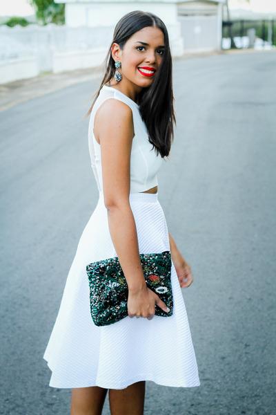 teal sequined Zara bag - white midi Zara skirt - white cropped Zara top