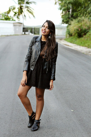 black ankle boots - black lace H&M dress - black leather H&M jacket