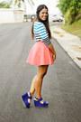Blue-striped-zara-top-salmon-skater-forever-21-skirt
