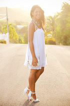 white pleated BCBGeneration dress - ivory Aldo heels - silver Zara necklace