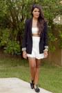 Black-zara-blazer-white-scalloped-front-row-shop-shorts