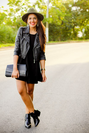 black brandy melville dress - black gypsy warrior jacket
