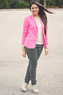 Silver-sequin-heart-forever-21-sweater-bubble-gum-zara-blazer