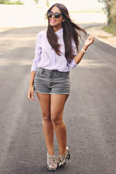 periwinkle Forever 21 blouse - heather gray Forever 21 shorts