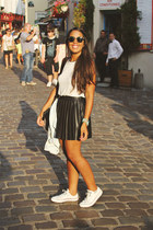 black leather pleated skirt - silver Zara top - white Converse sneakers